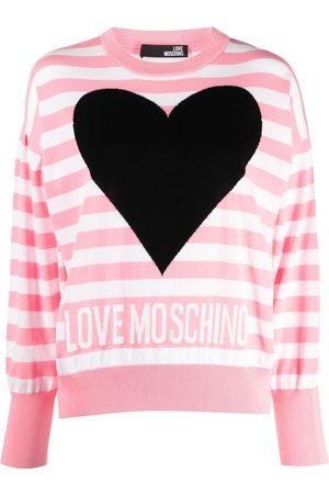 Love Moschino Women Jumpers - Striped logo-print sweatshirt