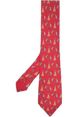 Hermès 2000s pre-owned illustration print tie