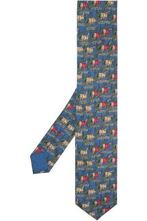 Hermès 2000s pre-owned horse print tie