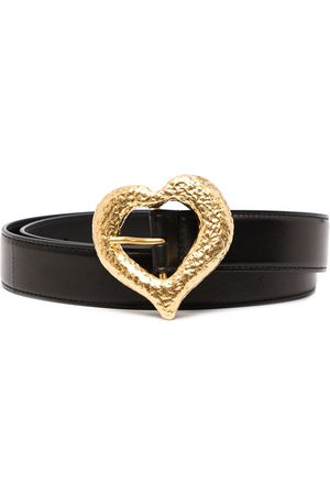 Saint Laurent Grained heart-buckle leather belt