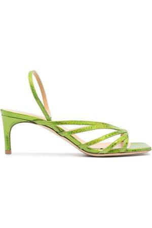 GIANNICO Aurora python-effect leather sandals