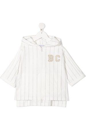 Brunello Cucinelli Logo-patch striped zip-up hoodie