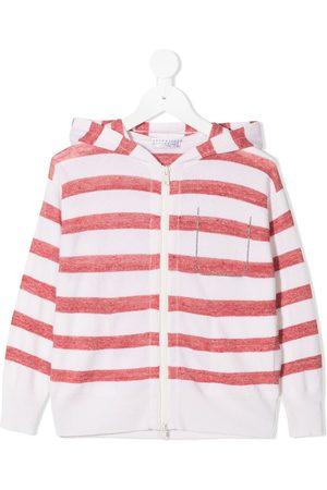 Brunello Cucinelli Striped zipped hoodie