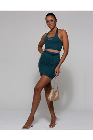 WMNSWear Motif detail crop top top and skirt co ord in teal