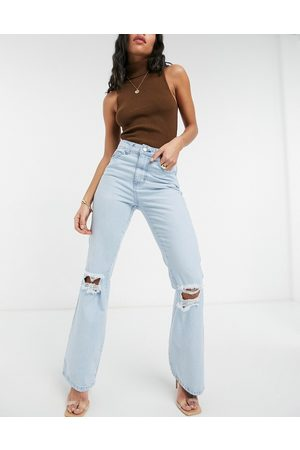 Femme Luxe Women Bootcut & Flares - High waist flares with busted knee in light