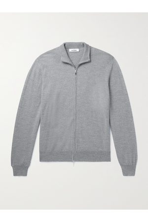 Saman Amel Men Hoodies - Mélange Merino Wool Zip-Up Cardigan