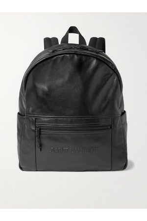 Saint Laurent Men Rucksacks - Logo-Embossed Leather Backpack