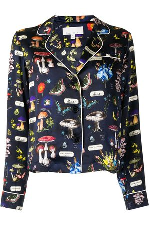 FLEUR DU MAL Graphic-print silk pajamas