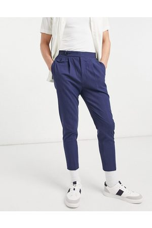 ASOS Tapered smart trousers in navy crinkle cotton linen