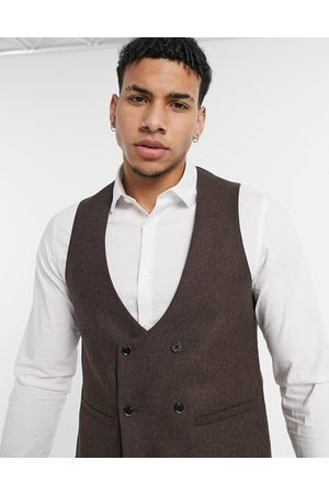 Harry Brown Wedding wool mix slim fit double breasted shawl lapel waistcoat