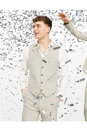 ASOS Wedding super skinny wool mix waistcoat in stone puppytooth-Neutral