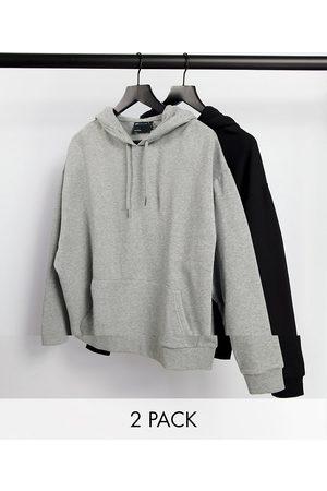 ASOS Men Sweatshirts - Oversized hoodie 2 pack black / grey marl-Multi