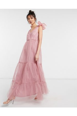 ASOS Tulle bow tie tiered maxi dress in rose