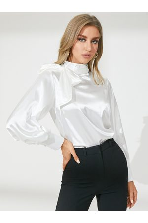 YOINS Celmia Big Bowknot Mock Neck Long Sleeves Blouse