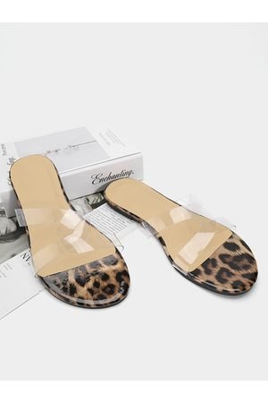 YOINS Women Casual Shoes - Casual Leopard Transparent Cross Slippers