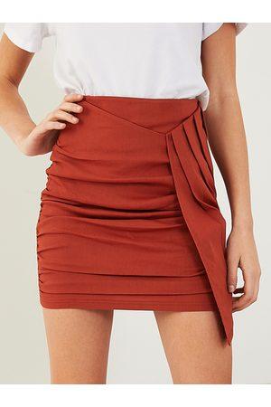 YOINS Women Mini Skirts - Ruched Asymmetrical Hem Mini Skirt