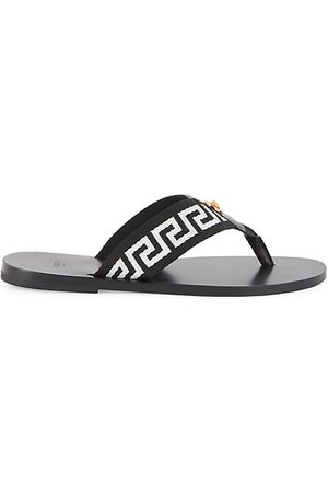 VERSACE Nastro Leather Thong Sandals