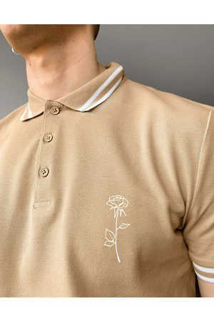 ASOS Polo shirt in pique with rose embroidery