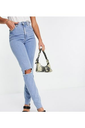 ASOS ASOS DESIGN Tall high rise farleigh 'slim' mom jeans in lightwash with rips