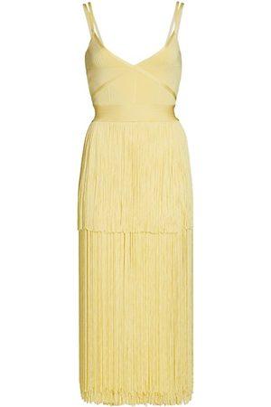 Hervé Léger Women Party Dresses - Geometric Ottoman Knit Fringe Cocktail Dress