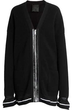 Givenchy Front Leather Zip Wool Cardigan
