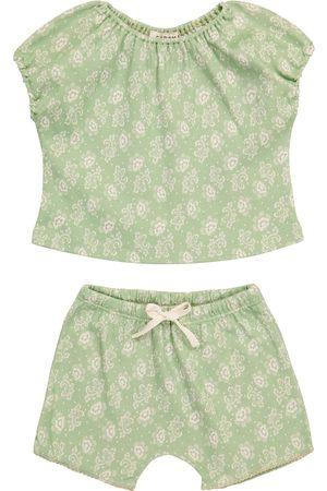 Caramel Baby Fugu floral cotton top and shorts set