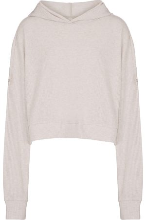 alo Muse ribbed-knit cropped hoodie