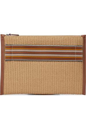 Loro Piana The Suitcase Stripe raffia pouch