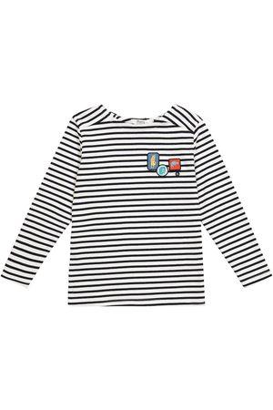 BONPOINT Appliquéd striped cotton sweater