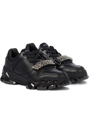 Jimmy Choo Diamond X/F embellished leather sneakers