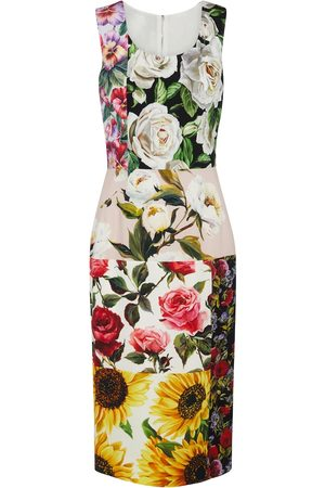 Dolce & Gabbana Women Midi Dresses - Patchworked stretch-silk midi dress
