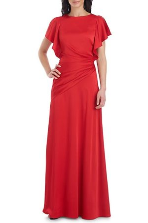 THEIA Asymmetrical Ruched Flutter-Sleeve Gown