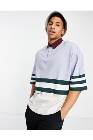 ASOS Oversized polo shirt in with contrast stripes