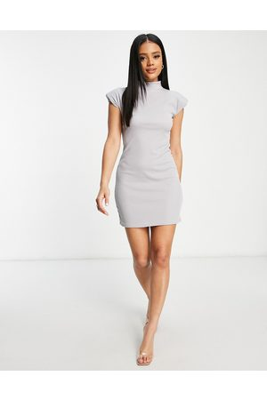 I saw it first Ribbed high neck bodycon dress with shoulder pads in