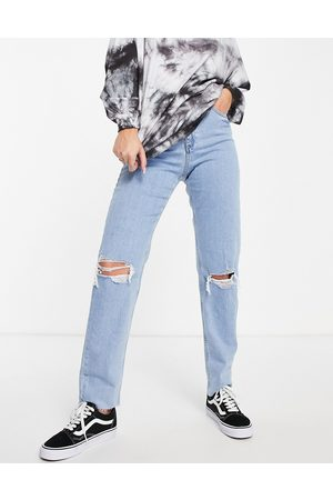 ASOS High rise farleigh 'slim' mom jeans in lightwash with rips