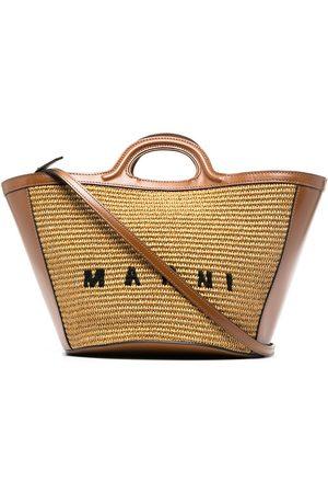 Marni Logo-embroidered raffia tote