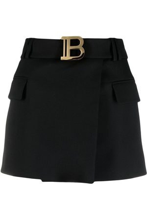 Balmain B-logo wrap skirt
