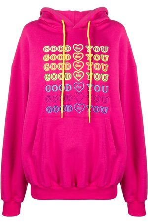 Ireneisgood Slogan embroidered cotton hoodie