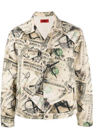 424 FAIRFAX Dollar bill print denim jacket
