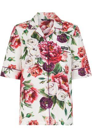 Dolce & Gabbana Three-piece peony-print pajama set