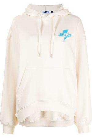 SJYP Oversized logo print cotton hoodie