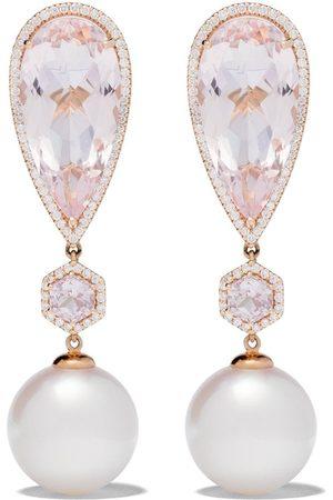 Yoko London 18kt rose gold Belgravia freshwater pearl, morganite, sapphire and diamond earrings