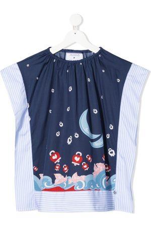 Simonetta Mix-print cotton blouse