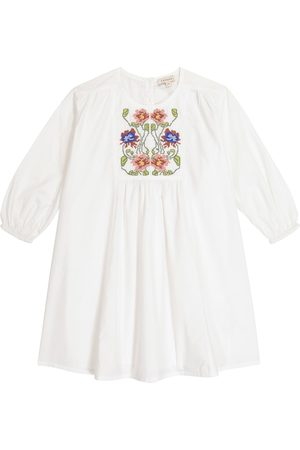 Caramel Coral embroidered cotton dress