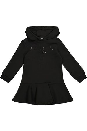 Balmain Sequined logo cotton hoodie dress