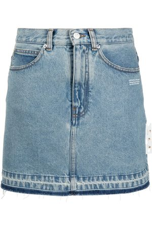 OFF-WHITE Raw hem denim mini skirt