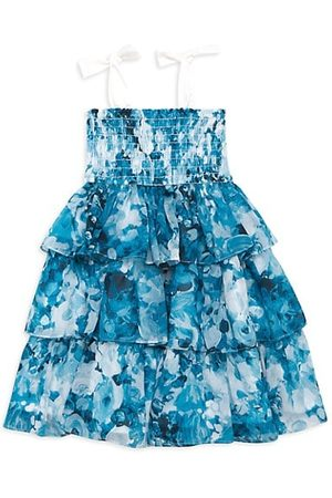 Marchesa Notte Girls Printed Dresses - Little Girl's and Girl's Tiered Floral Chiffon Dress
