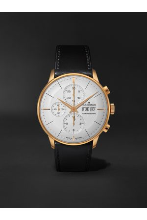 Junghans Men Watches - Meister Chronoscope Automatic 41mm PVD-Coated Stainless Steel and Leather Watch, Ref. No. 027/7023.01