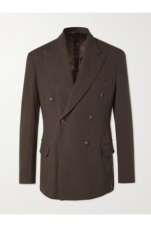 Loro Piana Men Rainwear - Double-Breasted Rain System Linen Suit Jacket