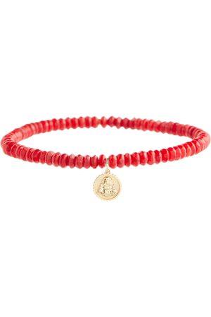 Sydney Evan Women Bracelets - Sitting Buddha 14kt gold bamboo coral bracelet with diamond